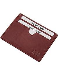 Extra plano tarjetero para tarjeta de crédito vegetal cuero curtido en varios colores