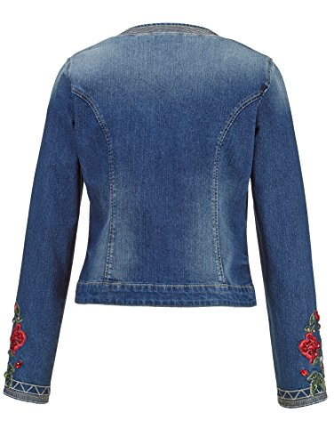 Damen Jeansjacke mit Rosenstickerei by AMY VERMONT Blue