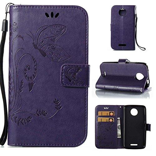 Funda Para Motorola MOTO C , pinlu® Alta Calidad Función de plegado Flip Wallet Case Cover Carcasa Piel PU Billetera Soporte Con Mariposa Grass Púrpura