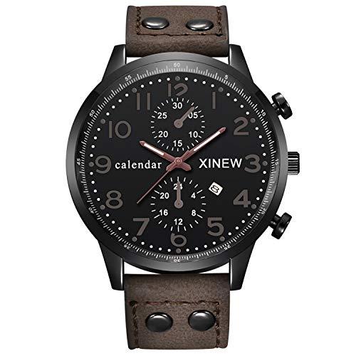 Trendige Military Fashion (Neu Armbanduhr FGHYH Männer Fashion Men Sports Date Analog Quartz Leather Stainless Steel Wrist Watch Uhr Armbanduhr(Kaffee))