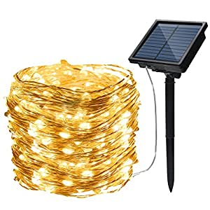 Solar Starry Fairy String Light, Emwel 10M/33FT 100 LEDs 8 Models Outdoor Solar Powered LED String Lights Waterproof Copper Wire Lights Festival Decorative Rope Garden Twinkle Light for Party Homes Wedding (Warm White)