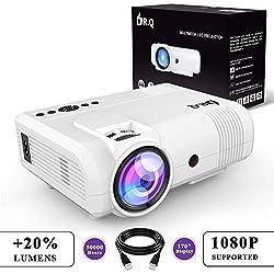 DR.Q 2600 Lumen Proyector, mini Proyector, 50000 Horas, Proyector de Vídeo compatible con 1080P, Conexión con dispositivo de TV Stick HDMI VGA USB, con HDMI y Cable AV, Blanco.