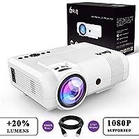 DR.Q Beamer (+20% Lumens), Projektor, Video Beamer, Mini Beamer unterstützt 1080P, Kompatibel mit PC Smartphone Tablet HDMI VGA USB TF, Heimkino Projektor, Weiß