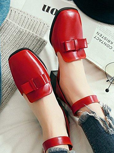 Aisun Femme Mode Noeud Bout Carré Escarpins avec Boucle Rouge