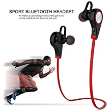 Bluetooth Kopfhörer In Ear, TechCode® Bluetooth Kopfhörer Roman Bluetooth V4.1 Wireless Headset In-Ear-Kopfhörer Sweatproof Sport Laufende Earbuds mit Noise Cancelling für Alle Android Cell Phones, Samsung S9/S9Plus,iPhone 7 ,iPhone 7 plus ,iPhone 6s,6s Plus, 6, 6 Plus, 5, 5c, 5s,iPad (Q9-Rot)