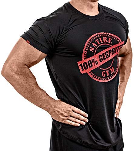 Satire Gym Fitness T-Shirt Herren - Funktionelle Sport Bekleidung mit Satire Charakter - Verschiedene Farben & Motive - Geeignet Für Workout, Training - Slim Fit (100% gespritzt roter Print, M)