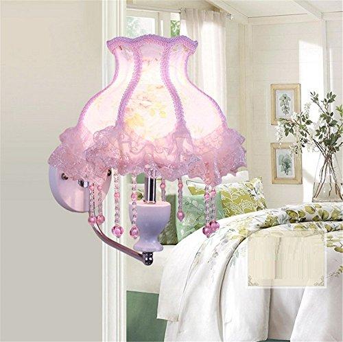 Modernes Europäisches Stil Fabric Lace Lampenschirm Wand Lampe Schlafzimmer Mädchen ' Zimmer Prinzessin cute Mauer Licht innen zuhause Dekor klein einfach Wandlampen,H:33cm (Zimmer Lampenschirm Für)