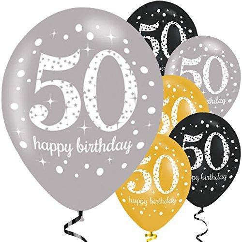 Feste Feiern Geburtstagsdeko Zum 50 Geburtstag | 6 Teile All In One Set Luftballons Gold Schwarz Silber Party Deko Happy Birthday