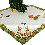 Tischdecke HASENSPASS ZU Ostern, 85x85 cm, weiß Ecru, Bedruckte Mitteldecke zu Osterzeit