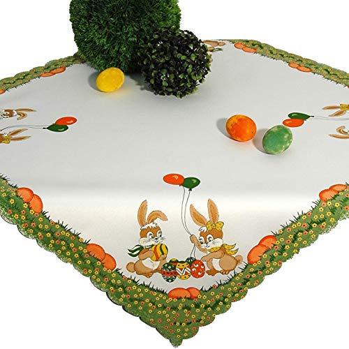 Tischdeckenshop24 Nappe de Table pour Pâques 85 x 85 cm Blanc Ecru