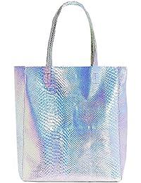 Mily Hologram Tote Bag Laser Pu Shoulder Bag For Women-Lightweight, Laser Pu Leather Handbag (Silver Snakeskin)