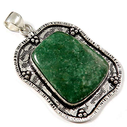 """Goyal Crafts Women Green Jade Natural Gemstone 2"""" Pendant Silver Plated Jewellery GPC122"""