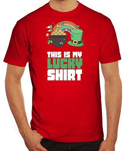 Saint Patrick´s Day St. Patricks Day Herren T-Shirt This Is My Lucky Shirt 2 Rot