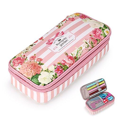 BTSKY Federmäppchen, doppellagig, multifunktional, wasserdicht, Retro-Blumenmuster, auch toll alsAufbewahrungstasche, Make-Up-Tasche, mit Reißverschluss rose