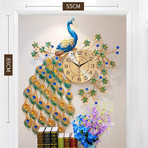 Fengfeng Stumme Wall Uhr, Crystal Clocks Living Room Metal 3D Wall Watches Large Silent Iron Art Home Office Decorations Decor (70 * 65cm),55 * 85cm -
