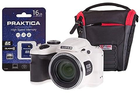 Fujifilm S8650 Bridge Digital Camera with 16 GB SD Card and Toploader Bumper Case - Silver