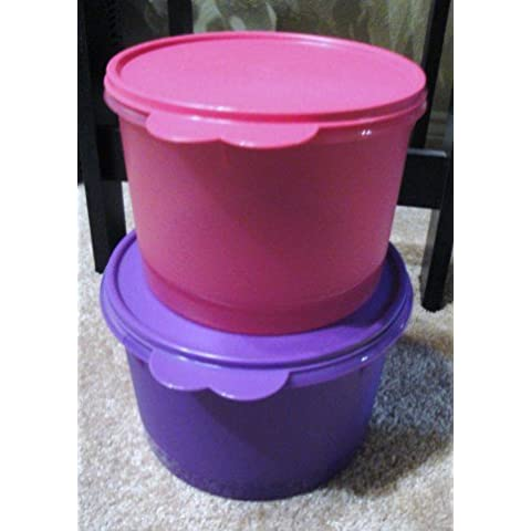 Tupperware Nesting Canister Set with Wonderlier Seals Pink & Purple 14 & 10 cup Capacity by Tupperware