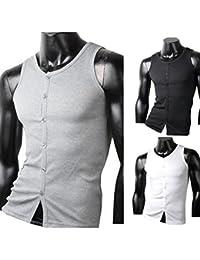 Herren Tanktop Tank top Muskelshirt Fitness T shirt Achselshirt Body mit Knöpfe