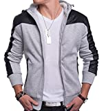 Herren Zip Hoodie / Übergangsjacke Idaho ID1342 mit Lederärmeln , Farben:Grau;Größe Jacken:S