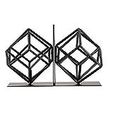 DW&HX Sujetalibros de arte,Decoración de sujetalibros 1 par Geometría] Hierro] Artesanias Estudio] Sujetalibros negro Decoración]-A 14x16x18cm(6x6x7inch)