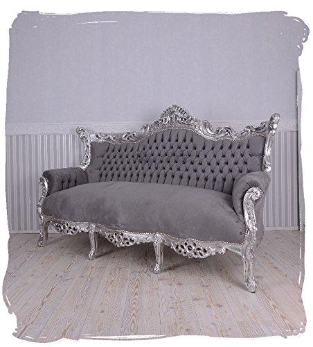 PALAZZO INT Prunksofa barockes Sofa Salon Couch Silber Grau Antik Sitzbank 200cm