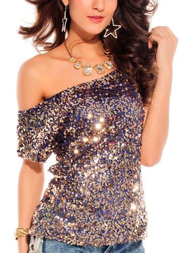 erdbeerloft - Top elegantes Pailletten Oberteil Shirt Bluse, Größe 36-40, viele Farben Blau