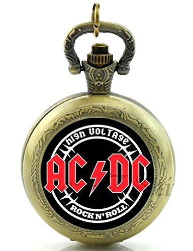 ACDC AC DC Band Themed Quarz-Taschenuhr Halskette, Antik Bronze Effekt–in Geschenkbox mit gratis Ersatz Batterie