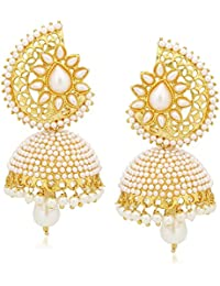 Meenaz Jewellery Gold Plated Pearl Jhumka Earring For Women