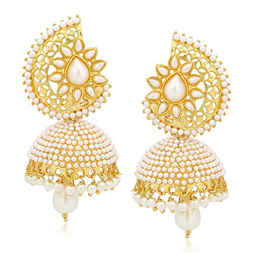 Meenaz Jewellery Gold Plated Pearl Jhumka Earring For Women