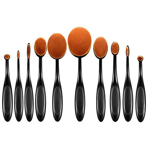 ElleSye 10 PCS Pinceaux Maquillage Ovale, Set Brosse Cosmétique à Dents Professionnels pour les Poudres, Anticernes, Contours, Fonds de Teints, Fard à Paupières et Eyeliner - Rose