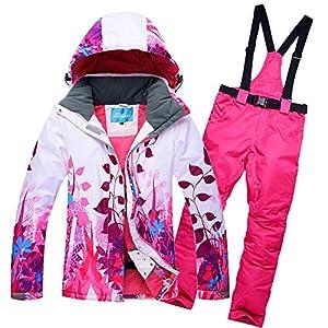 AXIANNV Jacken Frauen Skianzug Set Jacken Und Hosen Outdoor Single Ski Set Winddicht Ski Snowboard Gedruckt Sportswear