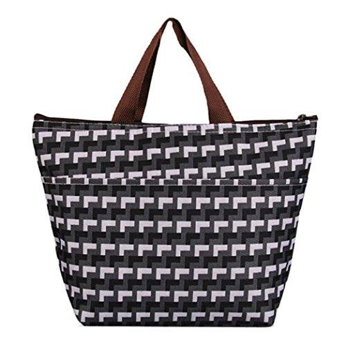 BZLine® Frauen Leinwand Paket Portable wasserdichte Mittagessen Taschen D