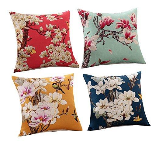 """La Sra. Casa la Sra. Casa 4paquetes decorativo fundas de cojín sofá funda de almohada de lino y algodón manta fundas de almohada de 18""""x 18"""", algodón, 4PWCR-8, 18""""x 18"""""""