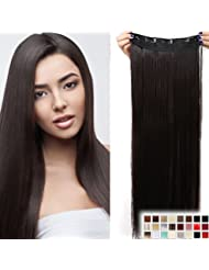 """23"""" Extensions Cheveux Clips Monobande - Extension a Clips 58CM(23 pouces) - Clip in Hair Extensions - Marron Foncé"""
