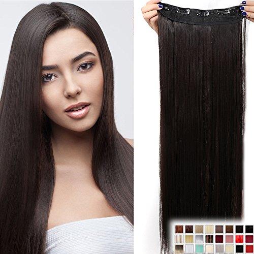 23' Extensions Cheveux Clips Monobande - Extension a Clips 58CM(23 pouces) - Clip in Hair Extensions - Marron Foncé