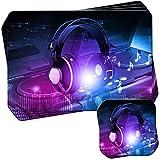 Kopfhörer auf DJ-Deck Turntables Set aus 4 Platzsets und Untersetzern