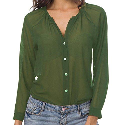 Camicetta in chiffon, meibax donne donna estate elegante chiffon manica corta camicia casual top camicetta moda scollo a v t-shirt maglie felpa coreana pullover (verde, m)