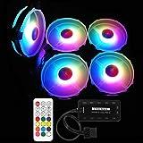 Meiyiu 12V 33CFM 6pin RGB Colorful Light 12CM DC Computer Case Chassis Cooling Fan 5 Color Fans + 1 Set Controller