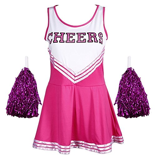 Damen Mädchen Cheerleader Cheerleading Kostüm Uniform Karneval Fasching Party Halloween Kostüm Kleid Minirock mit 2 Pompoms Rosa ()