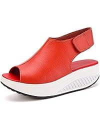Sneakers rosse con chiusura velcro per donna Minetom