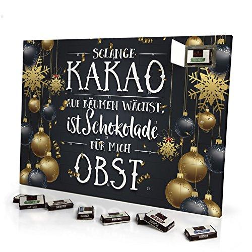 printplanet - Adventskalender Solange Kakao auf Bäumen wächst, ist Schokolade für Mich Obst - mit Schokolade - Design Weihnachtskalender, Schoko-Adventskalender mit Spruch