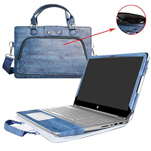 HP Notebook 14 Hülle,2 in 1 Spezielles Design eine PU Leder Schutzhülle + Portable Laptoptasche für 14