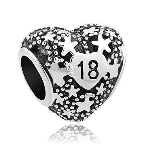 LovelyJewellery, Armbandanhänger mit Herz- und Sternmotiven, zum 18. Geburtstag, passend für Pandora-Armbänder (Pandora Herz Charms-infinity)