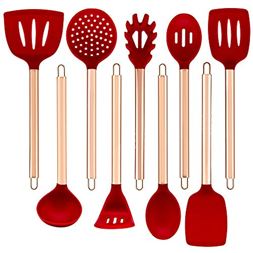 Luxcathy 304 Stainless Steel Rose Gold Plating and Silicone Kitchen Utensil Set , 9-Pieces with Spoons, Tuners, Pasta Server, Ladle, Skimmer, Potato Press for Pots and Pans Non-Stick Heat Resistant Silicone(Red)
