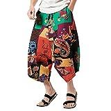 QinMM Homme Femme Unisexe Pantalon Grande Taille Bohème, Rétro Impression Bas Crotch Sarouel Capri Baggy Coton Lin Mince Élastique Taille Sarouel Ethnique Harem Hippie Pantacourt