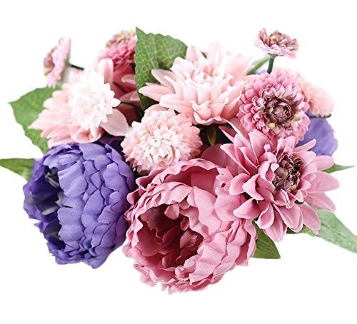 Pfingstrosen-Blumenstrauß-künstliche Pflanzen-Blumen die Innenparty-Dekoration heiraten (Rosa-Lila-30cm) (Spiegel Für Mittelstücke)