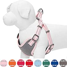 Umi. Essential Pastel Color Reflective Dog Harness, Chest Girth 42cm-54cm, Baby Pink, Small, Adjustable Harnesses for Dogs