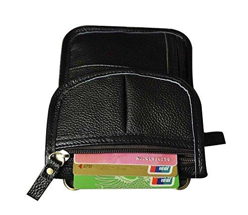 Genda 2Archer Reisesicherheit Crossbody Tasche Neck-Tasche Leder Hüfttasche (GelbBraun 1) Schwarz