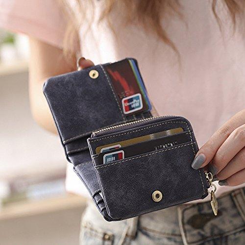 Woolala Donna Nabuk Breve Portafogli Trifold Mini Borsa Slot Multi Card Con Tasca Con Zip Monete, Caffè Coffee