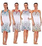 Bay eCom UK Ladies 100% Cotton Sleeveless Nightwear Floral Summer Short Nightdress M to XXXL